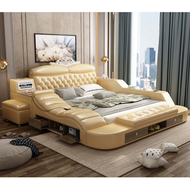 New Design Multifunctional King Size Bed With Storage Safe Massage