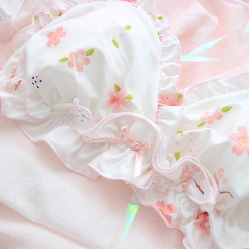 Różowy Sakura śliczny japoński biustonosz i zestaw fig Wirefree miękka bielizna sen bliscy zestaw Kawaii Lolita bielizna biustonosz i majtki zestaw