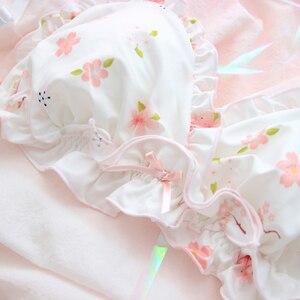 Image 2 - الوردي ساكورا لطيف اليابانية طقم حمالة صدر وسراويل داخلية Wirefree لينة داخلية النوم العشير مجموعة Kawaii لوليتا الملابس الداخلية حمالة صدر ولباس داخلي مجموعة