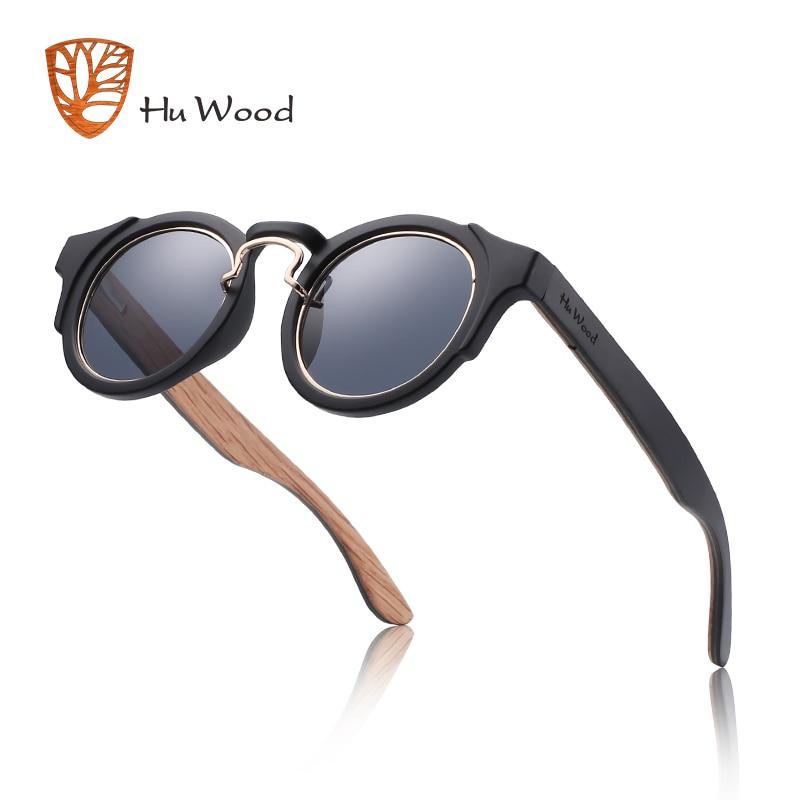 Hu Wood Round Steampunk Sunglasses Men Women Fashion Glasses Brand Designer Retro Frame Vintage Sunglasses High Quality UV 400