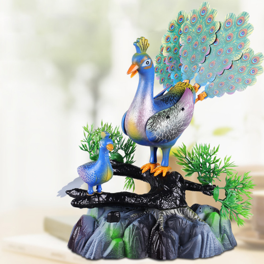 Lovely Baby Toy Electric Birds Sound Voice Control Pet Toy Animal Simulation Peacock Kids Toy Gift Garden Ornaments