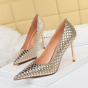 Nowe modne damskie buty na wysokim obcasie płytkie sztyfty ślubne Party pumpy damskie wiosenne letnie klapki klasyczne buty damskie obuwie damskie tanie i dobre opinie LEOSOXS Podstawowe Cienkie obcasy CN (pochodzenie) Cekinami tkaniny Super Wysokiej (8cm-up) Pasuje prawda na wymiar weź swój normalny rozmiar