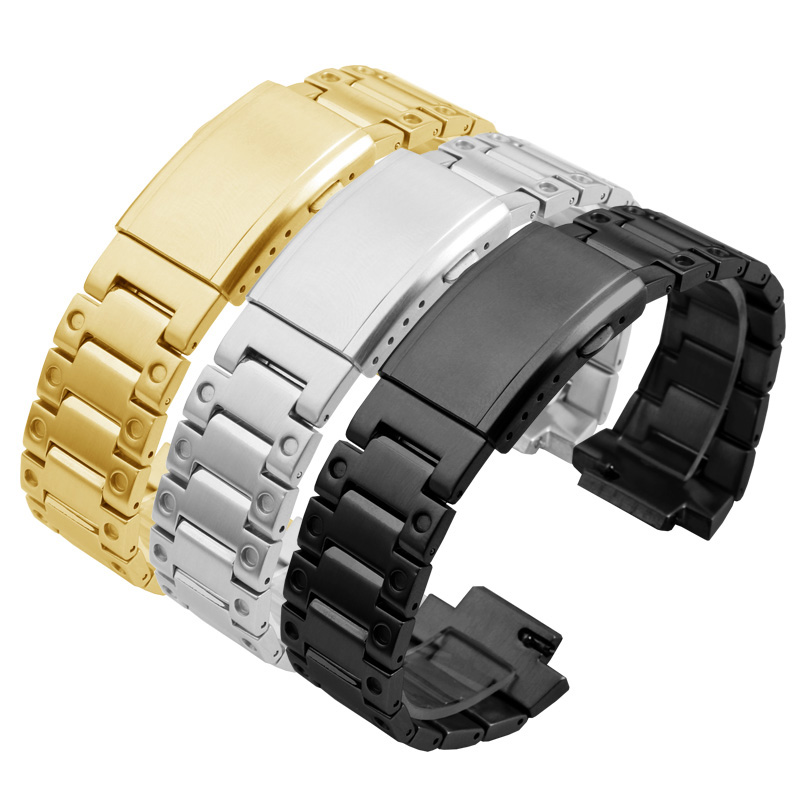 Stainless steel <font><b>watchband</b></font> black silver gold strap Replacement metal belt for <font><b>G</b></font> <font><b>SHOCK</b></font> GW-5000 5035 DW5600 GW-M5610 strap suit image