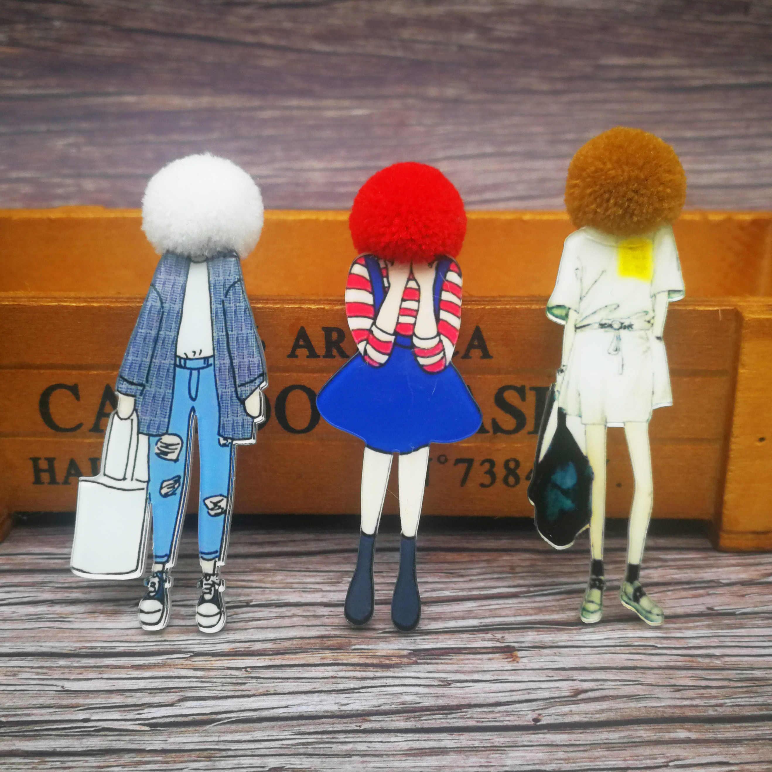 Fashion Bros Pin untuk Wanita Bros Wajah Gadis Kartun Model Akrilik Bros Kawaii Pompom Pakaian Perhiasan Aksesoris