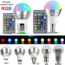1/2/4/6/10Pcs RGB LED Bulb E27/E26/E14/B22/GU10/MR16 Spot Bulbs IR Remote Control changing 16 Colors Lamp AC85-265V D25