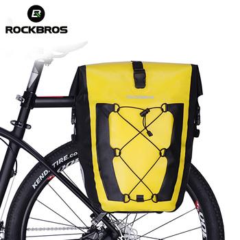 ROCKBROS rowerowa torba na rower wodoodporna rowerowa tylna torba na bagażnik tylne siedzenie bagażnika torby Pannier 27L Big Basket Case MTB Bike akcesoria tanie i dobre opinie CN (pochodzenie) NYLON odporne na deszcz 2017 W1 Series Bicycle Bag Waterproof Foldable Rainproof Reflective Portable