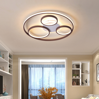 Round modern LED ceiling chandelier for living bedroom study with remote control dimming luxury aluminum body chandelier Fixture