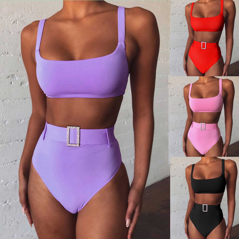Sexy High Waist Bikini Set Solid Color Swimwear Women Padded Swimsuit Female Brazilian Bikini Bathers Bathing Suit