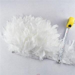 Image 5 - Оптовая продажа, 10 м/лот, отделка бахромой из перьев индейки, 4 6 дюймов, отделка Перьев Марабу, юбка, платье, отделка, ленточные перья для рукоделия