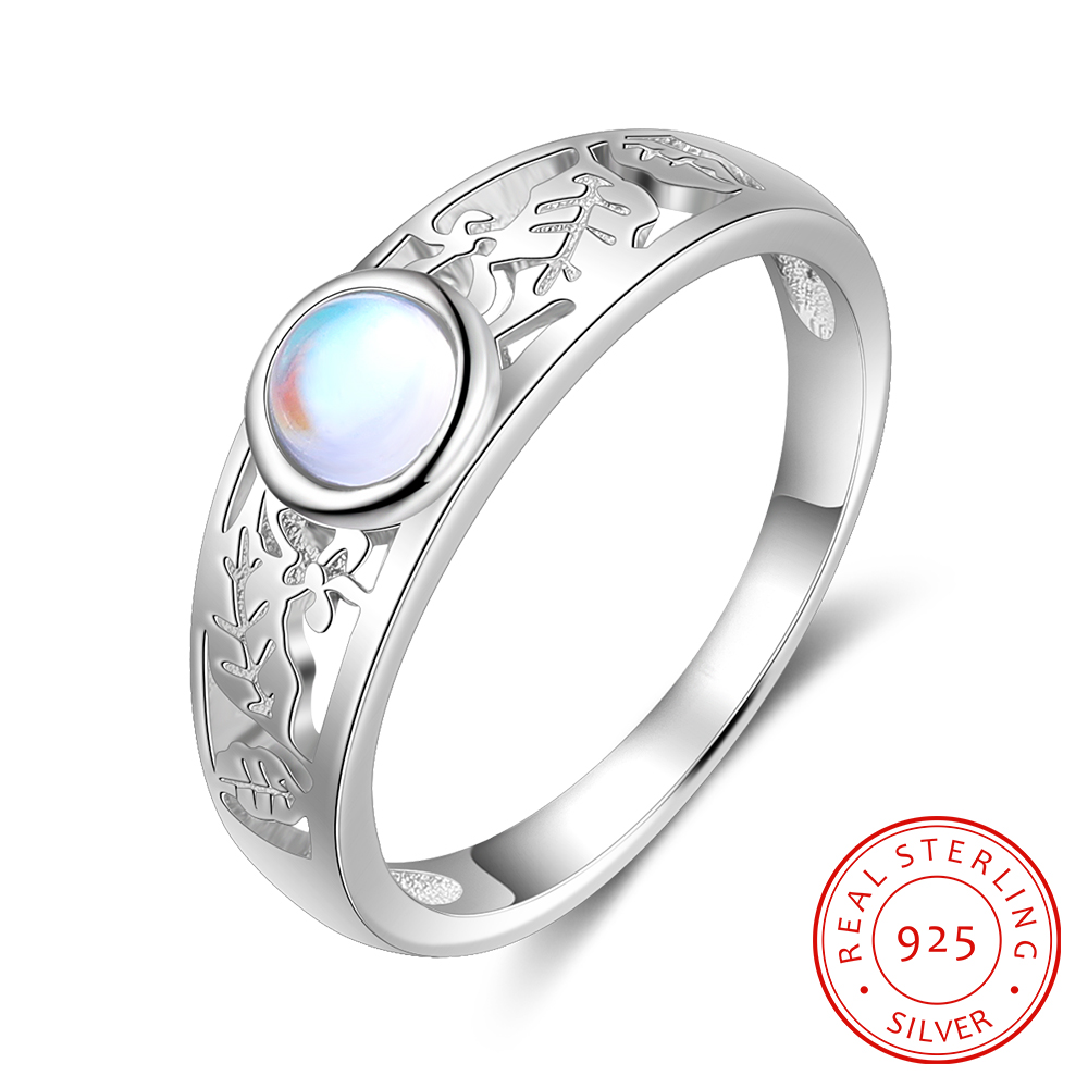 Moonstone Jewelry 925 Sterling Silver Leaf Rings for Women Wedding Band Ring Hollow Pattern Ring Unique Bride Engagement Gifts