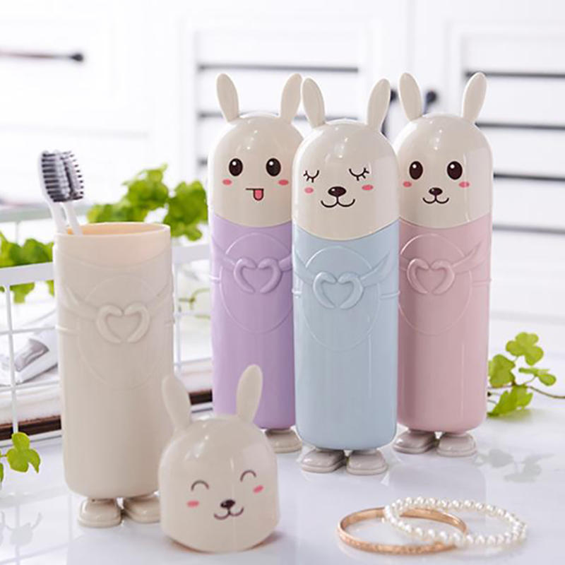 Cute Rabbit Toothbrush Toothpaste Holders Travel Portable Tooth Brush Cover Case Cartoon Toothbrush Box Bathroom Container image