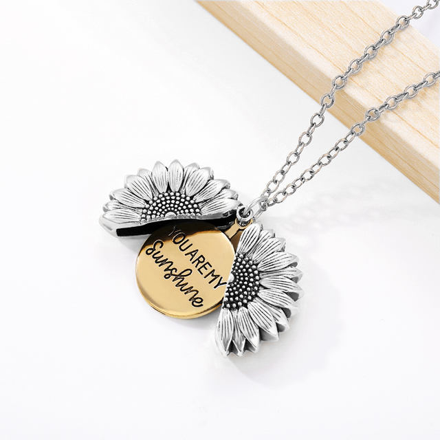Sunflower Necklaces For Women Stainless Steel Open Locket You are My Sunshine Sunflower Necklace Birthday Gift Boho Jewelry BFF 3