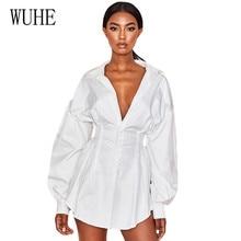 WUHE Loose Batwing Sleeve White Mini Dress Women Office Lady Pleated Blouse Shirt Autumn High Waist Elegant Short Dresses