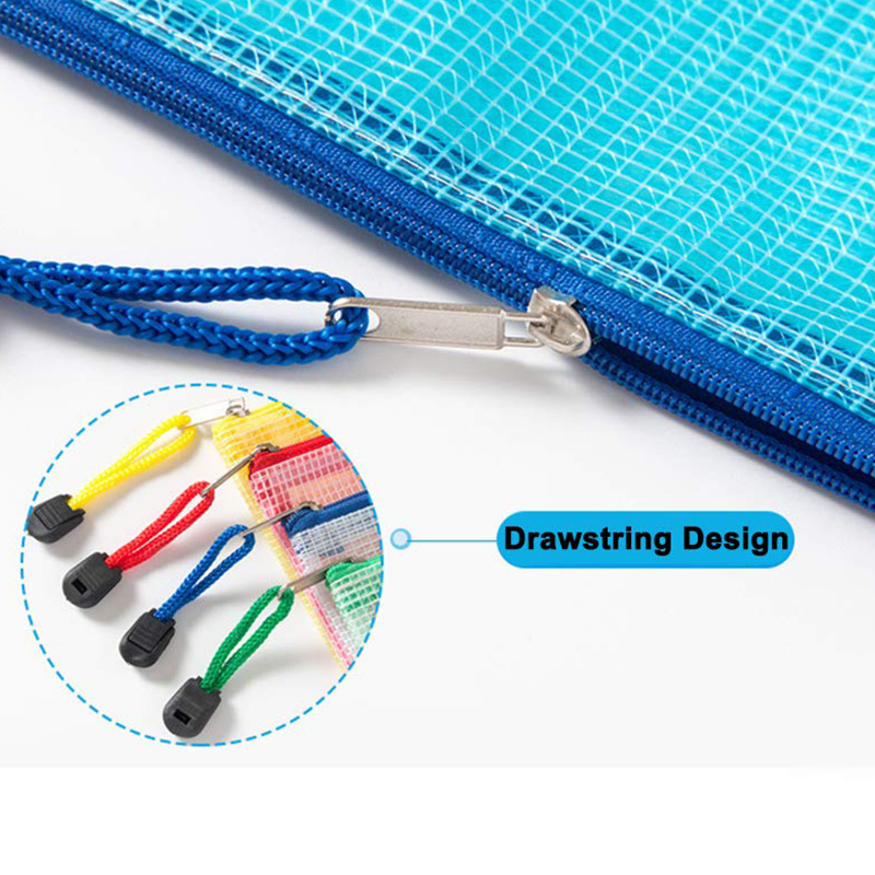 10 Pcs Zipper File Bags, Waterproof PVC Durable Document Bags For School Office Stationery Business Document Receipts Organizer