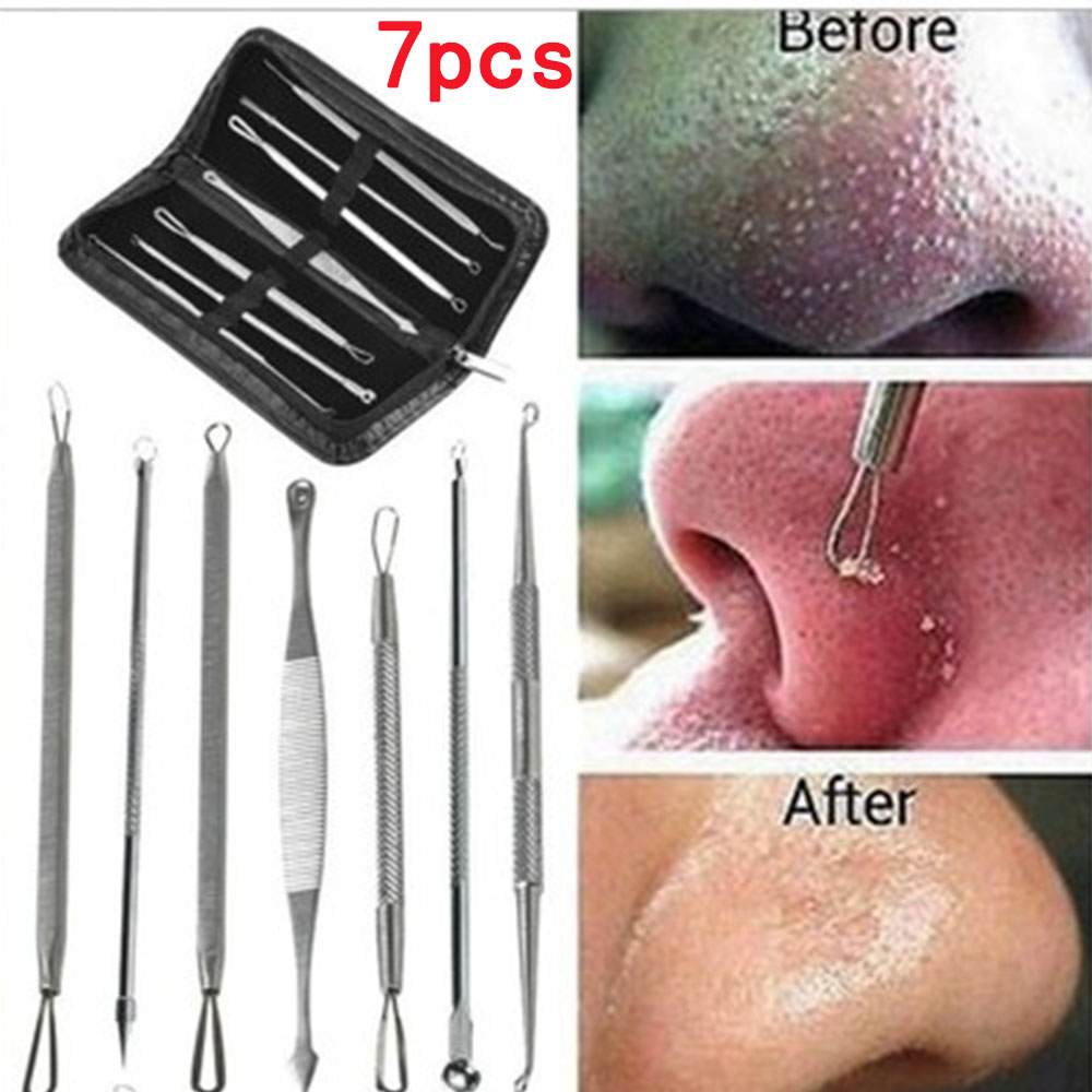 5/7Pcs Black Dot Pimple Blackhead Remover Tool Needles Set For Squeezing Acne Tools Spoon For Face Cleaning Extractor Pore