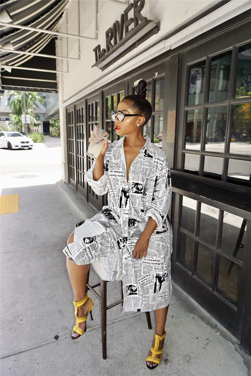 Coolhappy 2021 Plus SizeSpring Casual Newspaper Printed White Loose Shirt Blouse Women Clothes Long Sleeve Vintage Party Dress