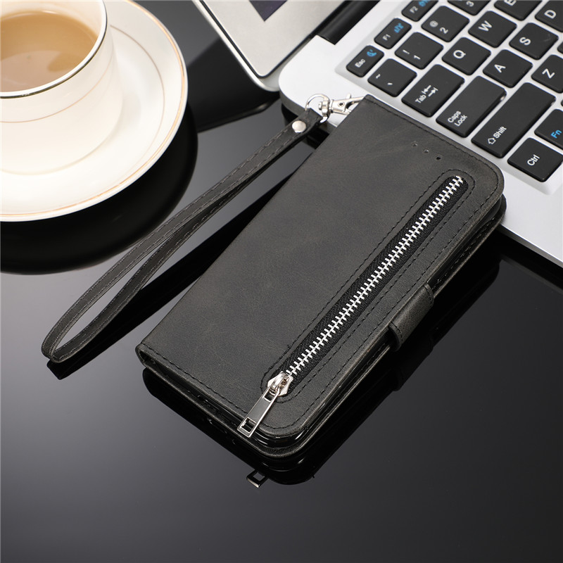 H61e51769c6d44fee9489f7ab354df1457 Leather Zipper 8plus Flip Wallet Case For iPhone 11 Pro X XS MAX XR 6 6s 7 8 Plus Card Holder Stand Phone Cover Coque Etui Mujer