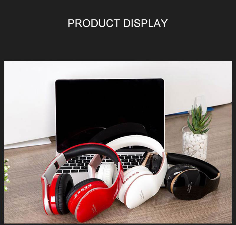 PunnkFunnk Wireless Headphones Bluetooth Earphone 5.0 Foldablel 3D Bass Stereo Noise Reduction Gaming Headset/Mic  For Mobile PC