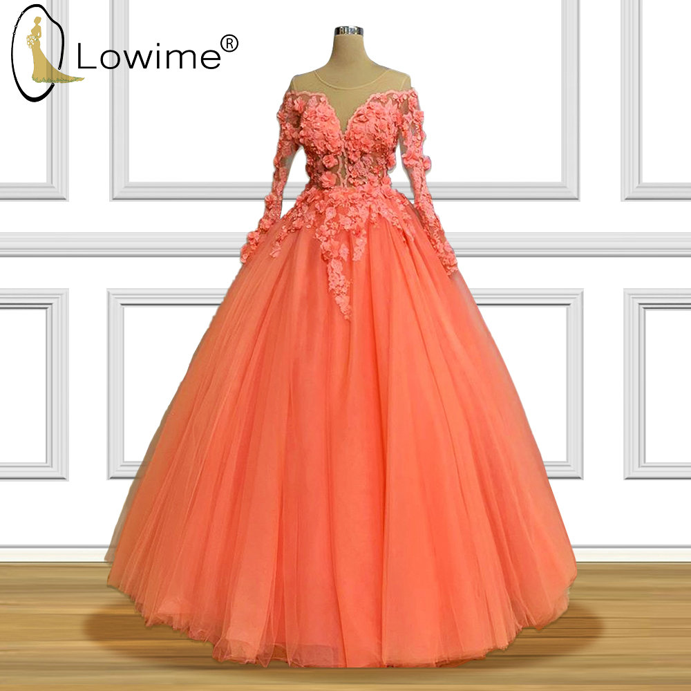 Illusion Long Sleeve Puffy A Line Evening Dresses O Neck Flowers Applique Beads Floor Length Formal Women Dress Prom Party Gowns