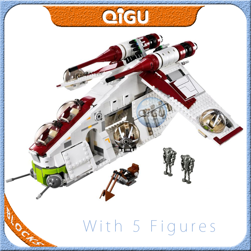 75021 <font><b>Wars</b></font> <font><b>Star</b></font> Toy Republic Gunship Set StarWars Compatible with Lepining <font><b>05041</b></font> Ship for Children Educational Blocks Toys image