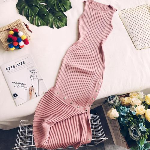 Gagarich Sexy Women Bodycon Dress Slim Solid O-neck Knitted Long Stretch Ladies Dresses 2019 Summer Vestidos