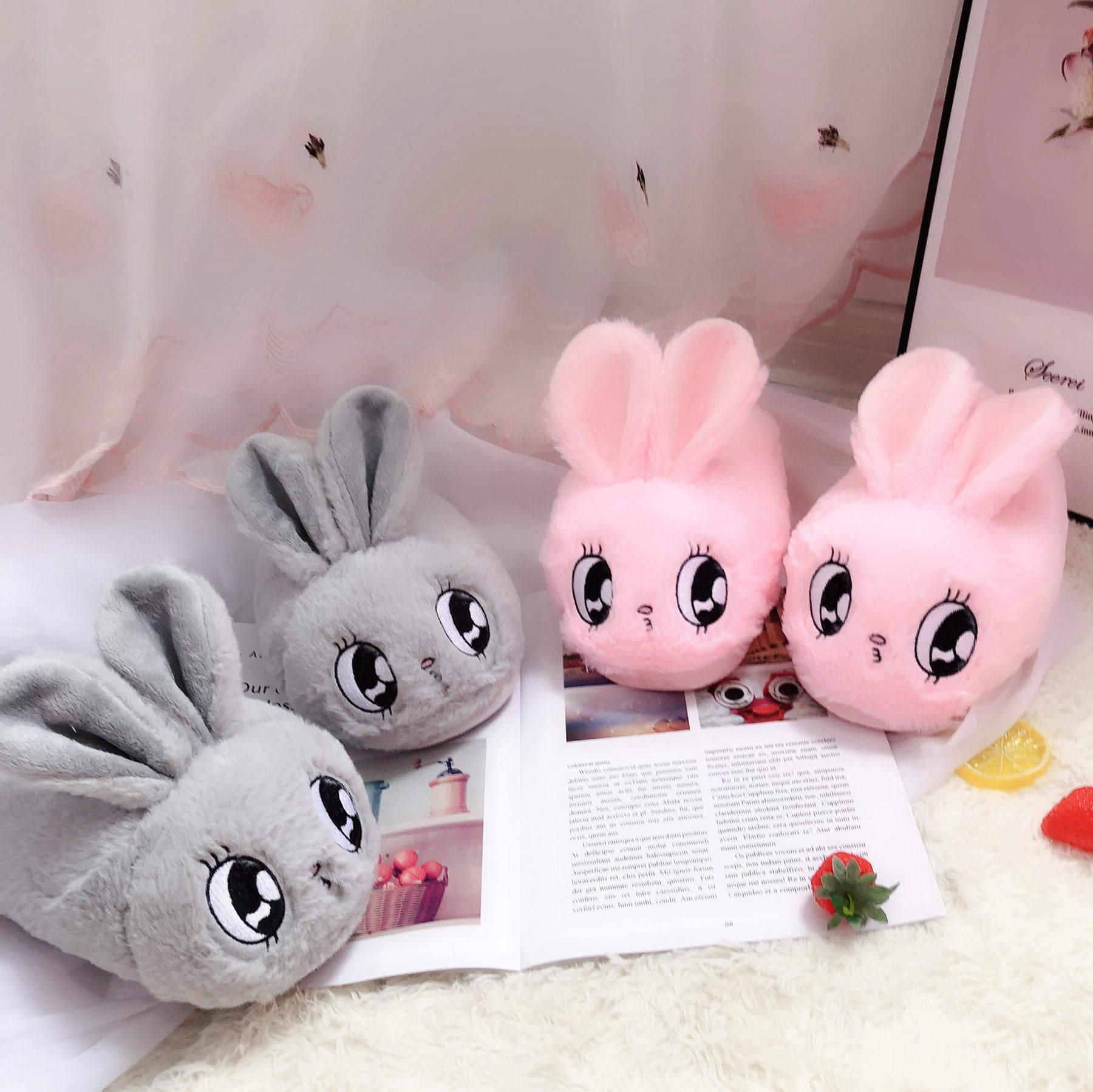 Millffy Cute Pink Rabbit Gray Bunny Slipper Cartoon Animal Plush Slippers Female Winter Warm Rabbit Home Woman Slipper