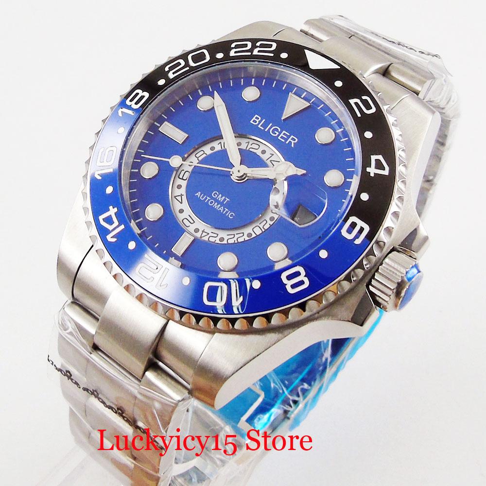 BLIGER 43mm Automtic Men Watch Self Winding Wristwatch Date Window GMT Function Ceramic Bezel Sapphire Crystal MINGZHU Movement|Mechanical Watches| |  - title=