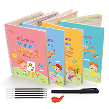 French 4 Pcs Magic Practice Copybook for Kids Before School Mathematical Alphabet Drawing Reusable Calligraphy Tracking Book