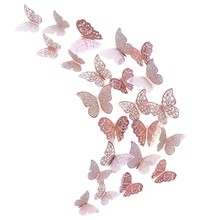 Rose Gold Butterfly Decorations 3D Wall Decals Art Sticker Diy Removable Paper Murals for Home Living Room Kids Girls Bedroom Nu(China)
