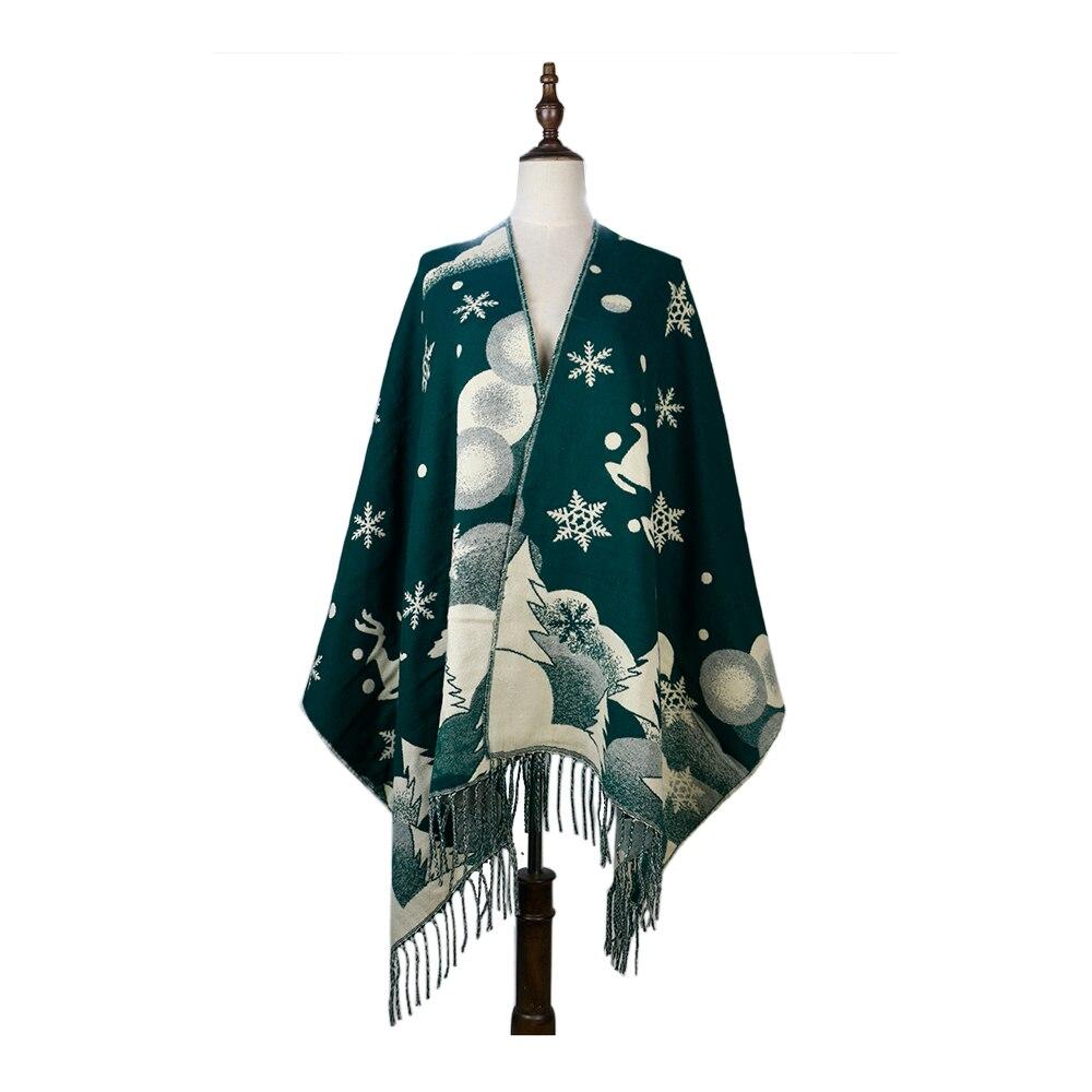 шарф женский осень теплый Cashmere Acrylic Blanket Shawls Snowflake Deer Jacquard снуд