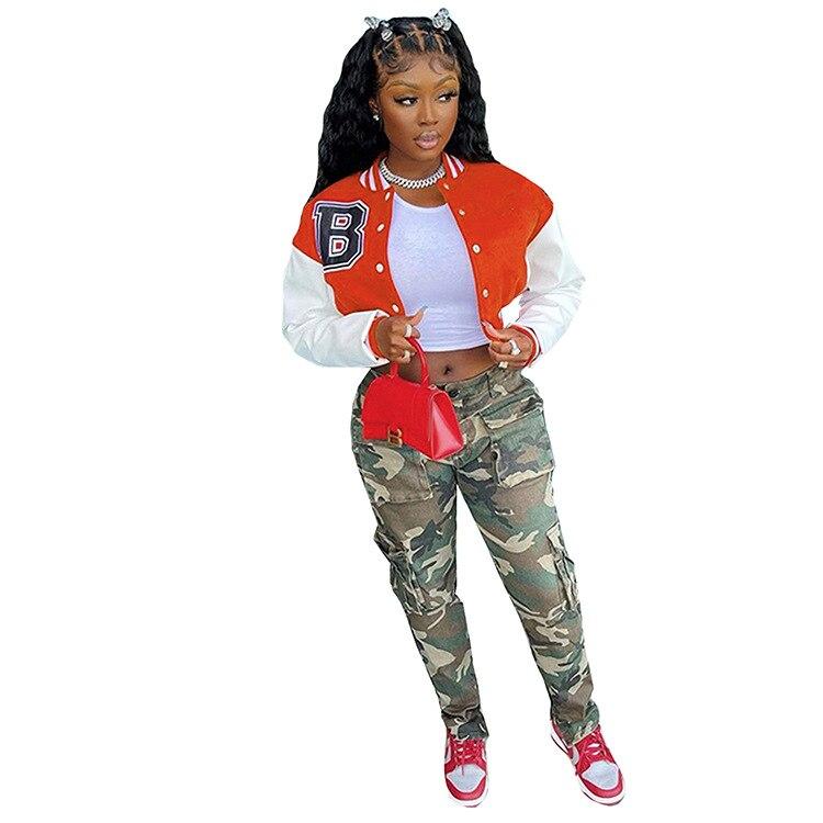 H61e57e2d2fa44ab9a8f76cf74054d2f0U Baseball Jackets for Women 2021 Autumn Letter Print Color Patchwork Cropped Long Sleeve Loose Short Bomber Jacket