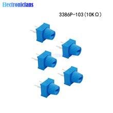 Potentiomètres de coupe 3386P-1-103, résistance 10 kΩ Ohm 10K, avec bouton, tour unique, pour Arduino, 5 pièces