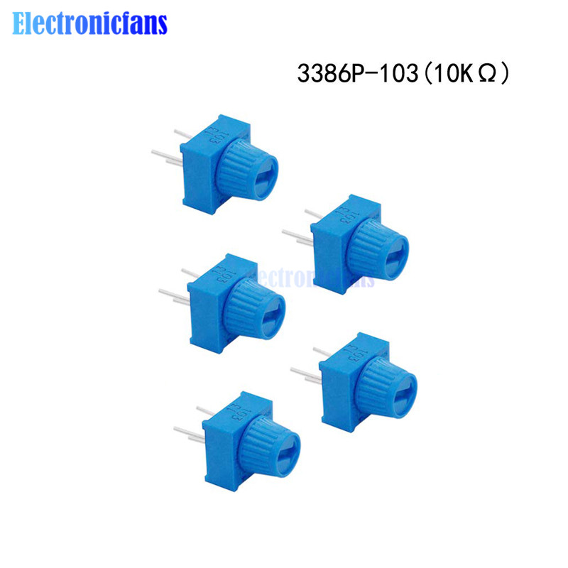 1-100pcs 3386P Square Cermet Single Turn 1 Turn Trimmer Potentiometer