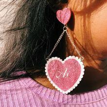 Сверкающие акриловые висячие серьги с блестками в форме сердца