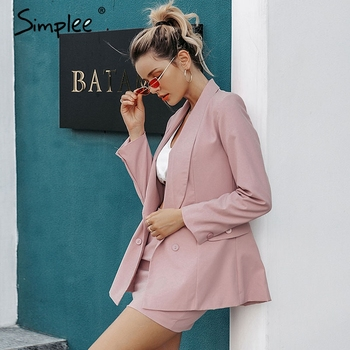 Simplee Elegant two-piece women blazers skirts suit Autumn casual streetwear female suit set Chic office ladies blazer set suits
