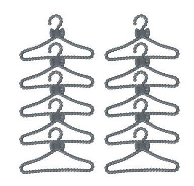 RCtown 12 PCS Plastic Mini Clothes Hanger Doll Clothes Accessories