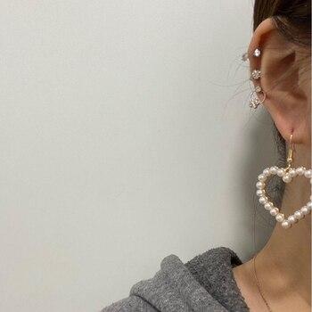 Flashbuy Gold Heart Pearl Drop Earrings For Women Statement Pearl Dangle Earrings Simple Fashion Jewelry Trendy Accessories 3