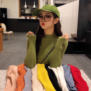 New 2019 Autumn Pullover For Women Casual Turtleneck Sweater Female Bottoming shirt jacket Slim long-sleeved Tops woman фото