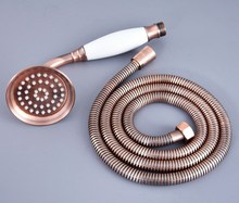 Antique Red Copper Ceramics Telephone Handheld Shower Head Brass & Handheld Shower Head Hose Set zhh130 free shipping sus304 stainless steel double lock 1 5 2 2 5 3m shower hose with brass fitting for handheld shower and shower head