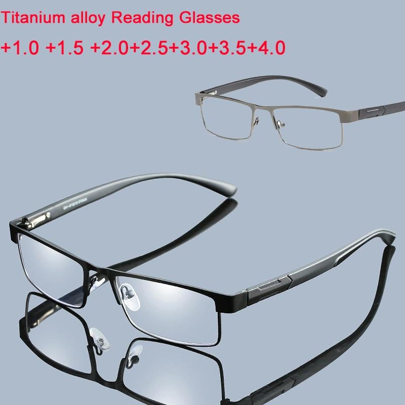 Reading Glasses Men Titanium Alloy Non Spherical 12 Layer Coated Lenses Business Hyperopia Prescription Eyeglasses +1.0 To +4.0
