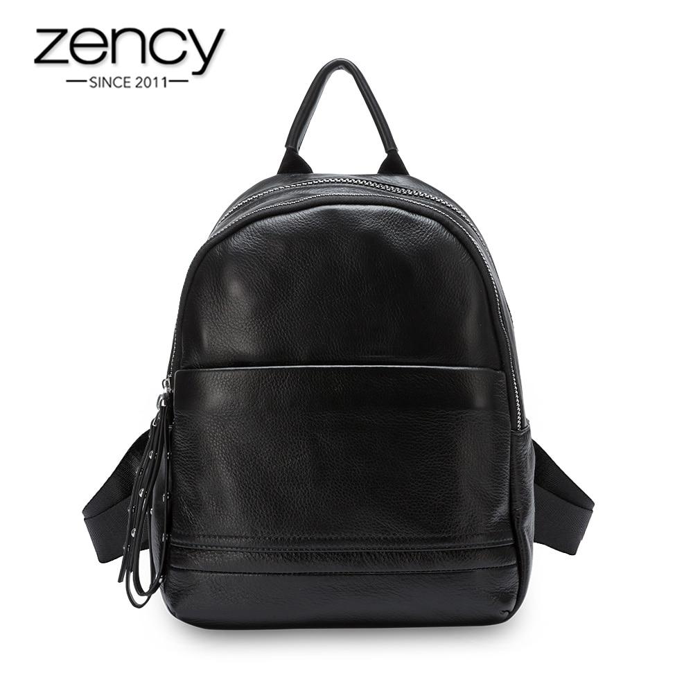 Zency Daily Casual Women Backpack 100% Genuine Leather Beach Rucksack Preppy Style Schoolbag Lady Travel Bag Black Grey