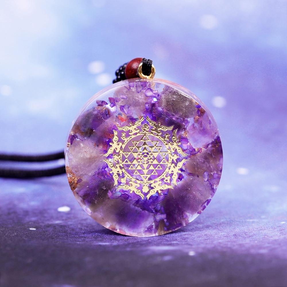 Natürliche Kristall Orgonite Anhänger Halskette Heiligen Geometrie Chakra Energie Halskette Meditation Schmuck Emf Schutz Chakra|Anhänger-Halsketten|   - AliExpress