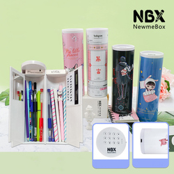 Newmebox Sekolah Pensil dengan Kunci untuk Anak Perempuan Anak Laki-laki Nbx Pena Kotak Kucing Lucu Cartridge Tas Alat Tulis Besar Pencase Besar kotak Pensil