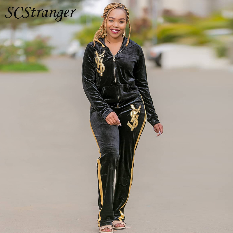 2021 Womens Summer Suits Velvet Cardigan Embroidered Turn Down Collar Two Piece Sets Ladies Sexy Fashion Plus Size Pants Suits