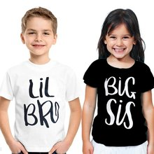 2020 New Sis Bro Matching Clothing Letter T-Shirts Little Brother Baby Boy Casual T-shirt Big Sister Summer Girls Tee Tops(China)