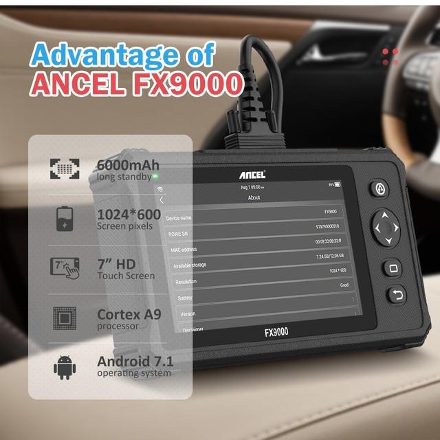 Ancel FX9000 Car Diagnostic Tool Engine Analyzer OBD2 Scanner All System Code Reader SAS Reset Automotive Scanner Free Update Multimeters & Analyzers    -