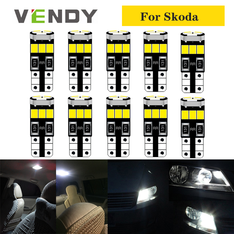 10pcs Car W5W T10 LED Lights 168 Bulb Auto Lamp 2835 SMD For Skoda Superb Octavia A7 A5 2 Fabia 2 Rapid Yeti Kodiaq Peugeot 206