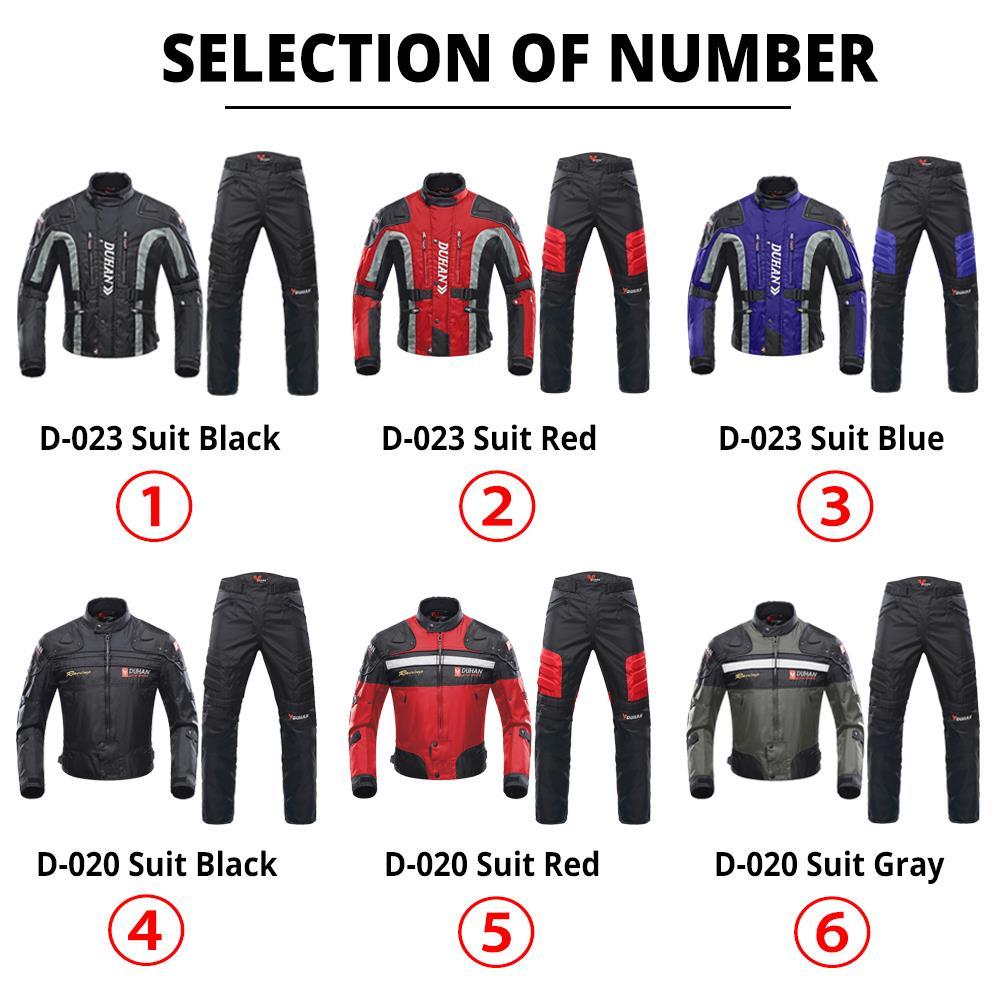 Duhan outono inverno à prova de frio jaqueta da motocicleta moto + protetor calças moto terno touring roupas conjunto de equipamentos de proteção - 2