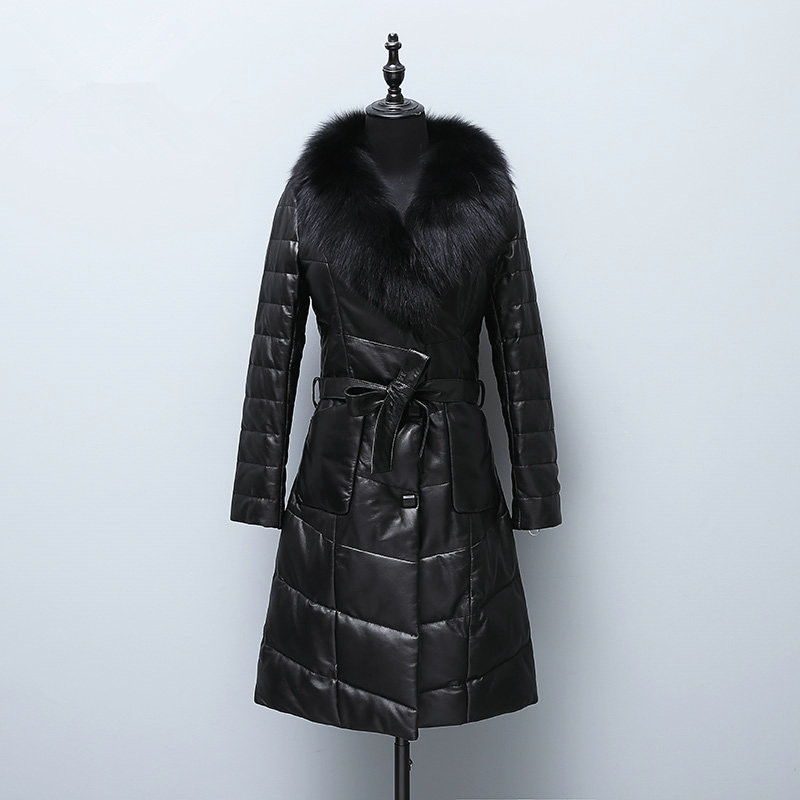 Sheepskin Real 100% Coat Female Fox Fur Collar Korean Down Jackets Winter Jacket Women Genuine Leather Jacket 6xl MY3786