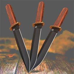 (SR) D2 acero palisandro integrado acero recto cuchillo 59HRC tratamiento térmico al vacío cuchillo de caza al aire libre + Funda de cuero